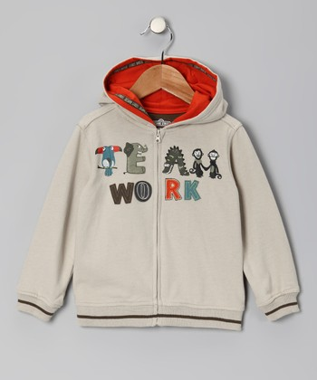 Brown 'Teamwork' Zip-Up Hoodie - Infant & Toddler