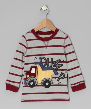 Gray Stripe Dump Truck Tee - Infant & Toddler