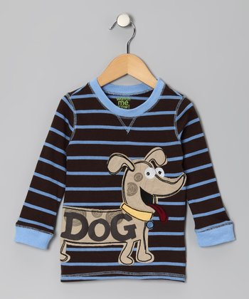 Brown 'Dog' Stripe Ribbed Tee - Infant & Toddler