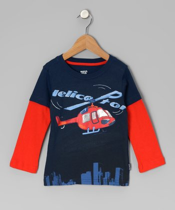 Navy Helicopter Layered Tee - Infant & Toddler