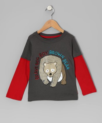 Gray Brown Bear Layered Tee - Infant & Toddler