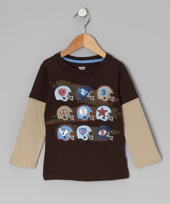 Brown Counting Helmets Layered Tee - Infant