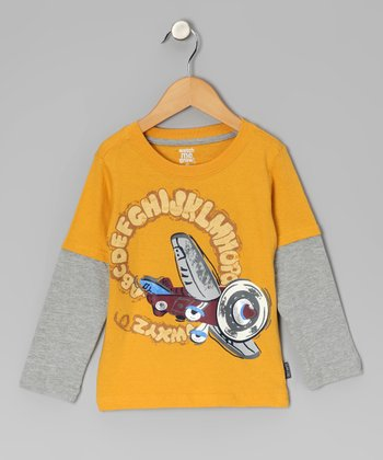 Yellow Alphabet Plane Layered Tee - Infant & Toddler