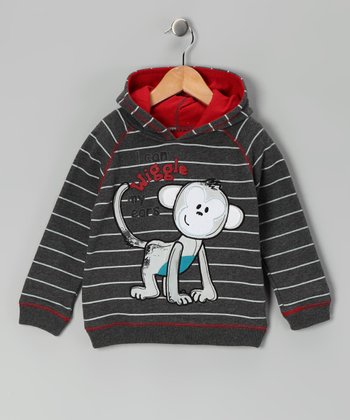 Gray Monkey Stripe Hoodie - Infant & Toddler