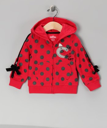 Red 'C Is for Cat' Polka Dot Hoodie - Infant