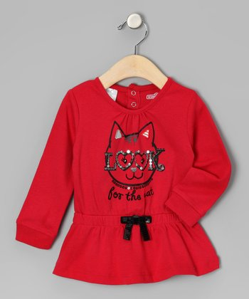 Red 'Look for the Cat' Tunic - Infant