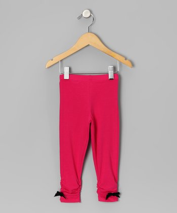 Pink Bow Ruched Leggings - Infant