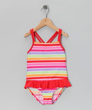 Warm Tones Stripe Ruffle One-Piece - Girls