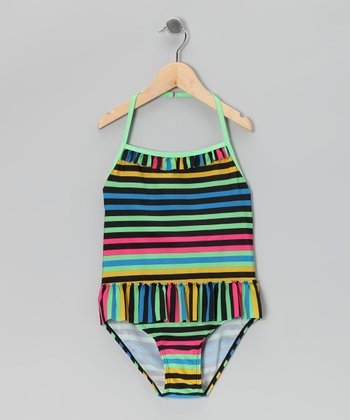 Cool Tones Stripe Halter One-Piece - Toddler & Girls