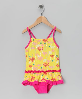 Yellow Fish One-Piece - Girls