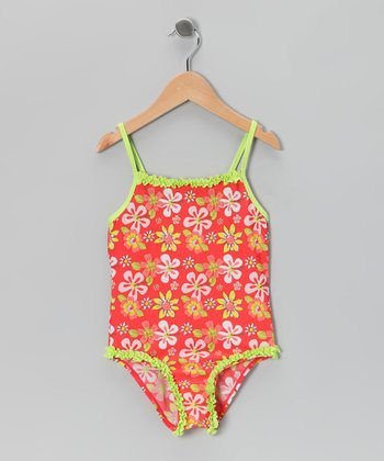 Orange Floral Ruffle One-Piece - Girls