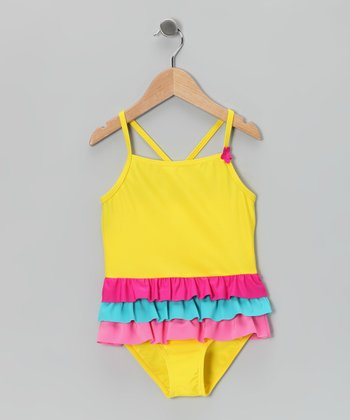 Yellow & Pink Ruffle One-Piece - Girls