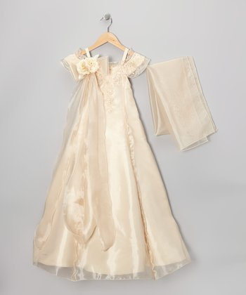 Champagne Beaded Flower Dress & Shawl - Girls