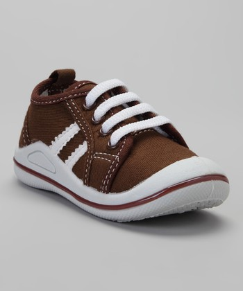 Brown & White Stripe Squeaker Sneaker