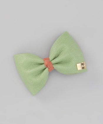 Green Knotted Bow Clip
