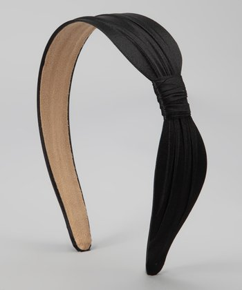 Black Wide Satin Headband