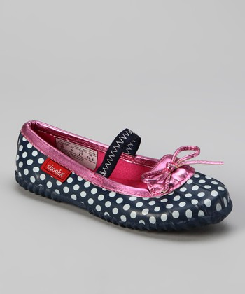 Navy Polka Dot Duck Flat