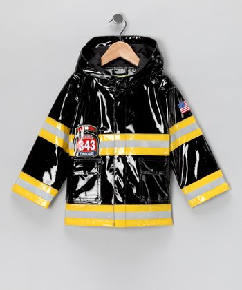 Black Light-Up 'Fire Chief' Raincoat - Toddler