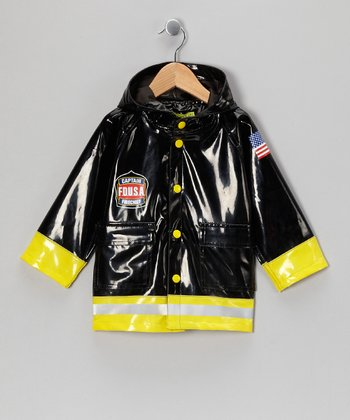 Black & Yellow 'Captain' Firefighter Raincoat - Kids