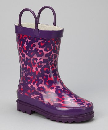 Purple Cheetah Rain Boot