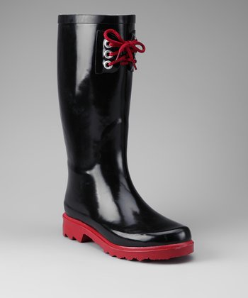 Black & Red Rain Boot