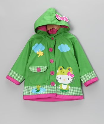 Green Hello Kitty Froggy Raincoat - Toddler & Girls