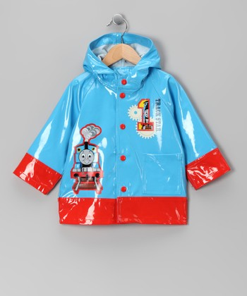 Blue & Red Thomas the Tank Engine Raincoat - Kids