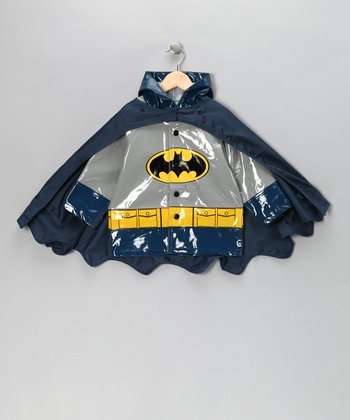 Navy & Gray Batman Raincoat & Cape - Toddler