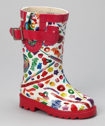 White & Red Dylan's Candy Rain Boot