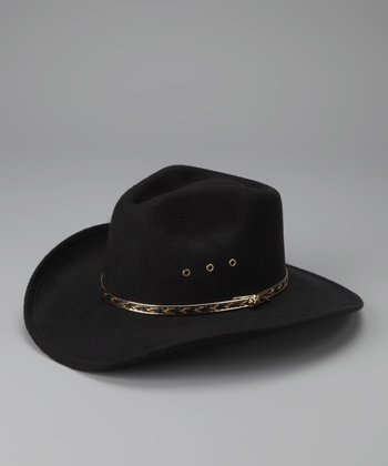 Black Pinch-Front Cowboy Hat - Kids