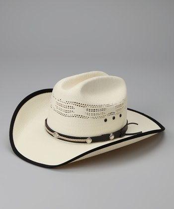 White & Black Leather Bangora Cowboy Hat