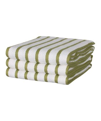 Whim Olive Stripe Casserole Dish Towel - Set of Three