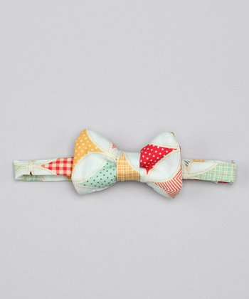 Whimsical Pudding Teal Diamond Bennie Bow Tie