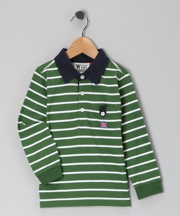Green Stripe Polo - Boys