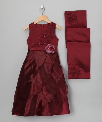Burgundy Ruffle Dress & Shawl - Girls