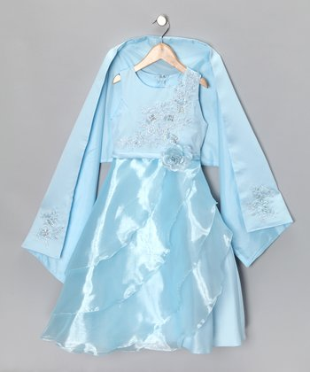 Baby Blue Flower Dress & Shawl - Girls