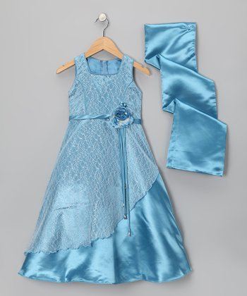 Ocean Blue Flower Layered Dress & Shawl - Girls