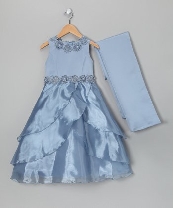Baby Blue Daisy Waist Dress & Shawl - Girls