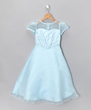Baby Blue Sheer Dress - Girls
