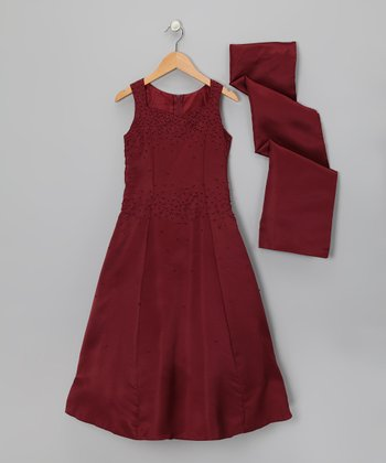 Burgundy Party Dress & Shawl - Girls
