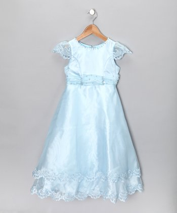 Whispers Baby Blue Cap-Sleeve Dress - Girls