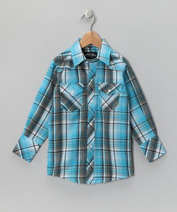 Aqua Plaid Button-Up - Boys
