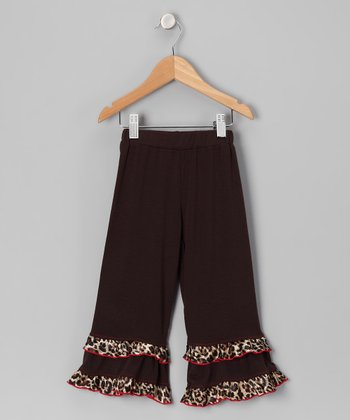 Brown Cheetah Double-Ruffle Pants - Toddler & Girls