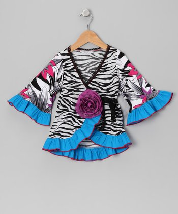 Blue Zebra Ruffle Wrap Top - Toddler & Girls