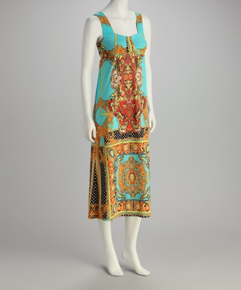Gold & Turquoise Arabesque Square Neck Dress