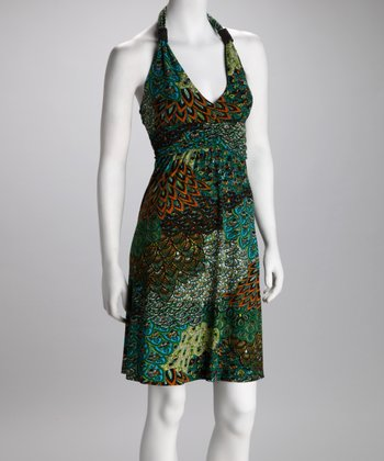 Green Peacock Halter Dress