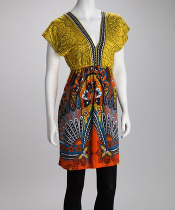 Orange & Yellow Flirtatious Tunic Dress