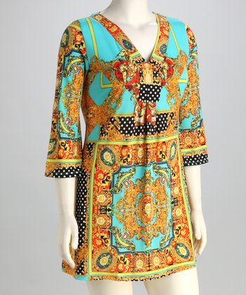 Gold & Turquoise Filigree Plus-Size V-Neck Tunic