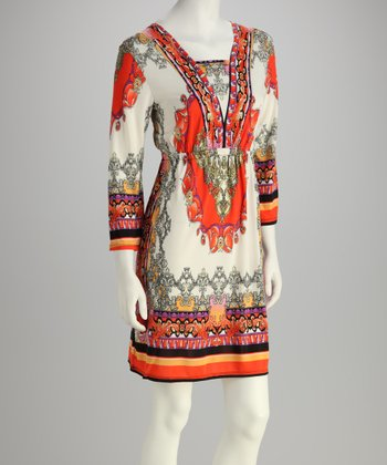 Ivory & Orange Arabesque Dress
