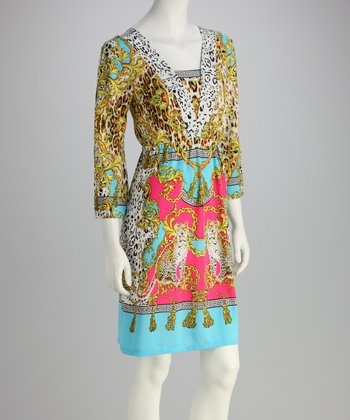 Yellow & Turquoise Arabesque Dress